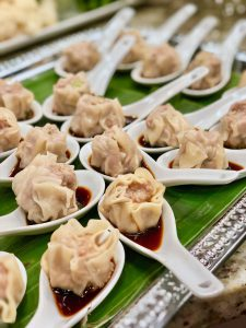 Chinese pork shumai dumplings for our holiday party at Christmas